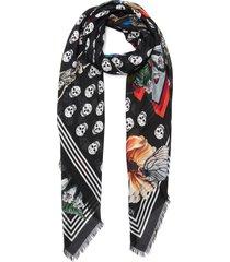 skull floral print pashmina foulard scarf