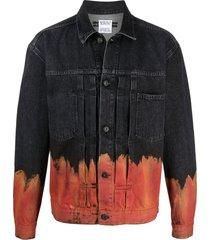 marcelo burlon county of milan flame-print denim jacket - black