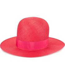 borsalino panama straw hat - red