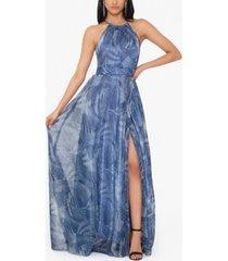 betsy & adam crinkle-print gown