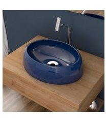 cuba de apoio para banheiro compace capri ov39w oval azul escuro
