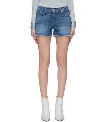 'le cut off' released hem stripe outseam denim shorts