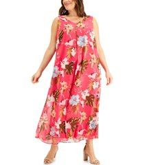 jm collection plus size printed chiffon dress, created for macy's
