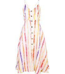 nicholas vestido com estampa de listras - branco