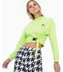 tech clash sweater voor dames, groen/aucun, maat xxs   puma