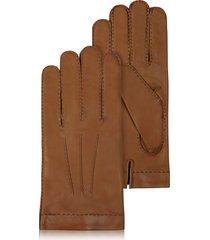 forzieri designer men's gloves, men's cashmere lined brown italian leather gloves