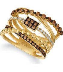 le vian chocolatier chocolate diamonds (3/4 ct. t.w.) & vanilla diamonds (1/5 ct. t.w.) statement ring in 14k gold