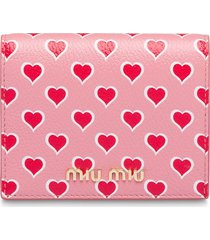 miu miu heart printed madras leather wallet - pink