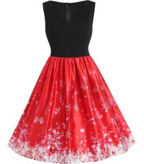 plus size vintage snowflake christmas dress