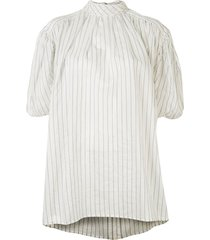 eenk shirred-sleeve striped blouse - white