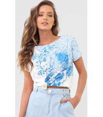 camiseta desigual under off-white - off white - feminino - algodã£o - dafiti