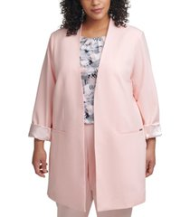 calvin klein plus size cuffed-sleeve topper jacket
