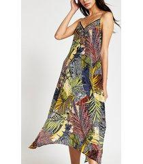 river island womens navy leaf slip midi beach dress