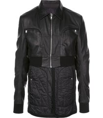 rick owens padded belted jacket - black