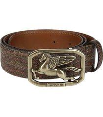 etro multicolor leather pegaso belt