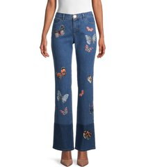 valentino women's butterfly embroidered bootcut jeans - blue - size 27 (4)