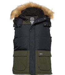 rookie colour block down gilet vest groen superdry