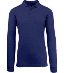 galaxy by harvic men's long sleeve pique polo shirt