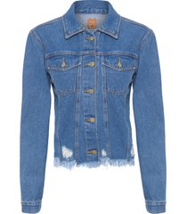 jaqueta feminina desfiada refarm jeans - azul
