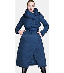 cappotto lungo da donna con cappuccio in piumino casual tinta unita