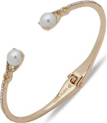 anne klein gold-tone pave & imitation pearl cuff bracelet