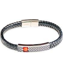 jean claude men's dell arte stainless steel, leather & bead fashioned bracelet