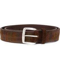orciani stitched-stripe pattern belt - brown