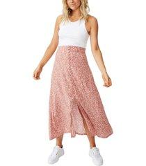 cotton on curve summer button midi skirt