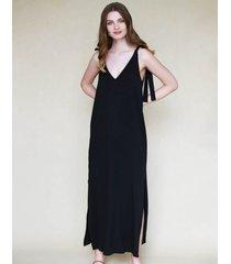 sukienka maxi z wiązaniami czarna