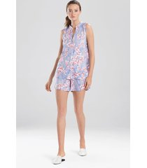 cherry blossom short pajamas / sleepwear / loungewear, women's, blue, size xs, n natori