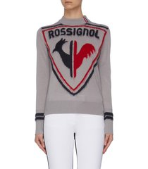 rooster print crewneck knit sweater