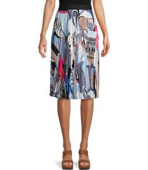 nic+zoe women's pottery abstract pleated skirt - blue multicolor - size xl