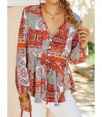 camicetta elastica in vita con bottoni con scollo a v con stampa bohémien per donna