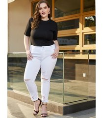 plus size white random ripped denim pants
