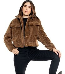 chaqueta ovejera con bolsillos color blue
