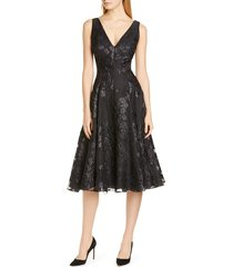 women's lela rose floral jacquard a-line dress, size 16 - black