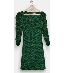 black ruched sleeve floral print mini tea dress - black
