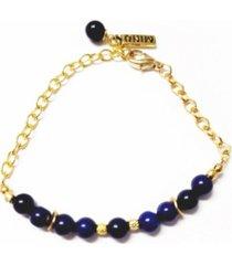 women's chain bracelet with blue lapis beads