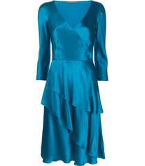 alberta ferretti v-neck flared dress - blue