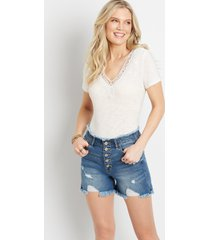 kancan™ womens high rise destructed frayed button fly 4in shorts blue - maurices