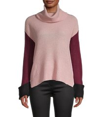 love and joy women's cowl-neck colorblock sweater - mauve combo - size l