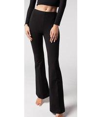 calzedonia flared leggings woman black size s