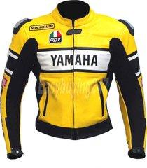 men yellow yamaha avg vr 46 motorbike biker leather jacket with hump xs to 6xl