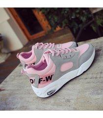 zapatillas de plataforma de running casual para mujer -rosa