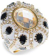 18k goldplated & crystal turban ring