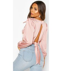 petite tie detail volume sleeve satin top, blush