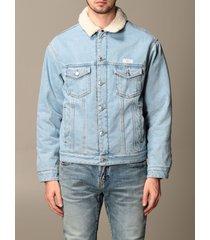 gcds jacket gcds denim jacket with faux fur collar