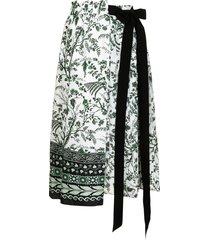 erdem fern poplin wrap skirt - white
