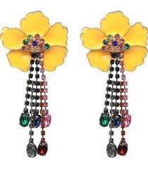 orecchini nappa europei eleganti fiori americani orecchini pendenti etnici colorati con piercing alla nappa