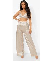 satijnen wide leg pyjama broek, taupe
